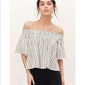 Uo Kimchi blue off the shoulder striped crop top